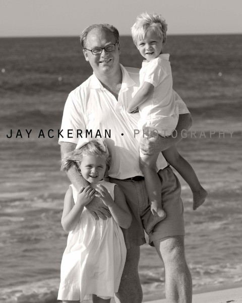 A Father and his two beautiful children making memories by the ocean by Jay Ackerman Photography